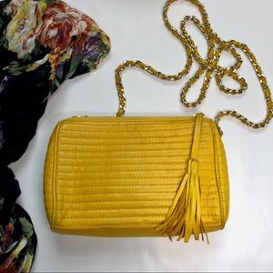 Nordstrom Mustard Yellow Leather Crossbody Purse
